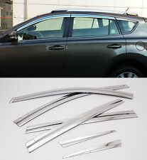 Chrome Window Sun Visor Vent Wind Rain 6p 1Set For 2013-2015 TOYOTA RAV4