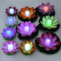 Solar Outdoor Floating Lotus Light Pool Garden Water Flower LED Lamp Light Decor
