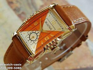 1953 Vintage BULOVA President 21 Jewels, Stunning Silver& Orange Dial, Serviced