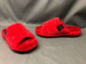 UGG Men's Fluff You Slippers Faux Fur Upper Wool Lining Slip-On Red Size 9 NWOB!