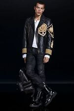 BNWT BALMAIN x H&M Black Gold Metal Embroidered Lion Leather Jacket EU 44 US 34R