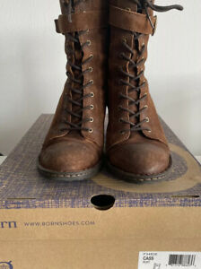 Womens Born Cass Lace Up Leather Boot Size 11M Rust Distressed $210