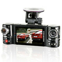 "Dual Camera Rotated Lens Car DVR w/ 2.7"" Split LCD+Night Vision+Motion Activate"