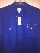 Chicos UNIQUE UTILITY JACKET Majestic Blue size 3 16 18 L XL