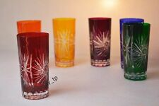 """Crystal glass juice set of 6 from Poland Hand Made """"HANDMADE"""" Multi Color"""