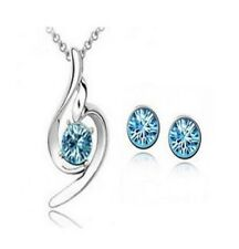 WHITE GOLD PLATED BLUE AUSTRIAN CRYSTAL NECKLACE SET