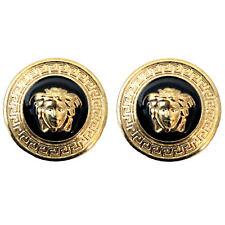 2er Set goldfarbene emaillierte Knöpfe mit Medusa und Mäander ca. 24 mm