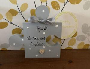 Freestanding Wooden Puzzle Piece, Auntie We Love To pieces, Auntie Birthday Gift
