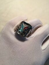 Vintage Eagle Ring Silver Men's Turquoise Coral Stone Inlay Size 9