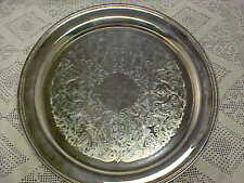 New listing Serving Tray Oneida 12 1/4 Inch Etched Engraved 1992 Silverplate Vintage