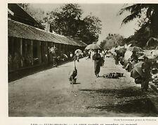 LUANG PRABANG GRUE SACREE AU MARCHE IMAGE 1939 HOLY CRANE MARKET OLD PRINT