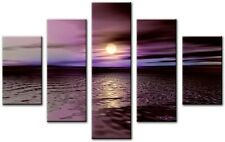 5 Panel Total Size 115x80cm Large CANVAS PICTURES WALL ART PRINTS WEST Purple