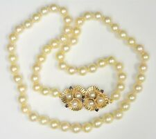 """Vintage Cultured Pearl 24"""" Necklace - 62 pearls - 8.5-8.0mm - Beautiful clasp!"""