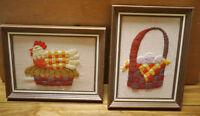 Pair Vtg Kitsch Handmade Wool Crewel Embroidered Framed Hen Easter Eggs Basket