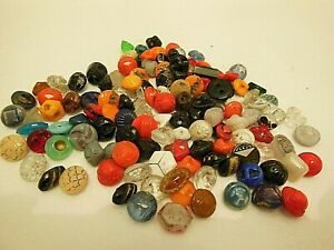 ANTIQUE SMALL & DIMINUTIVE  GLASS BUTTONS ~ BEAUTIFUL COLORS ~ LARGE LOT OF 129