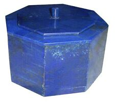 """6""""x6""""x4"""" Marble Jewelry Ring Box Lapis Lazuli Marquetry Mosaic Inlay Gifts H2063"""