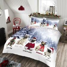 Christmas Xmas Angel Pug Snow Tree Star Pugs Duvet Quilt Cover Bedding Set