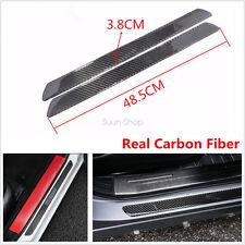 2pcs Car Auto Door Scuff Plate Sill Cover Panel Step Protector Carbon Fiber