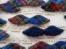 "100! Cute Christmas Padded Angel Wings - Blue Tartan & Felt Wing - 47mm/1.75"""