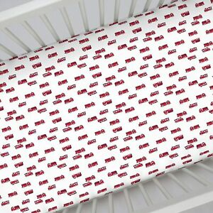 """Carter's  Firefighter Truck Fitted Crib Sheet ONLY-  52"""" x 28"""" SEE DETAILS 👓"""