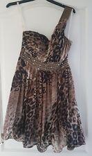 Little Mistress Leopard Print Off Shoulder Dress