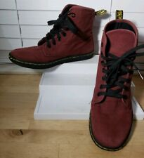 DR MARTENS Shoreditch Hi-Top Casual Sneaker Women's 8 M Burgundy Canvas Shoes
