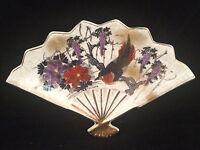 "Toyo Japan Fan Shaped Dish/Plate with Bird Gold Trim Wall Hanging 10x6-1/2"""