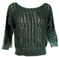 Free People Sweater Size XS Black Boomerang Crochet Open Knit Crop Pullover