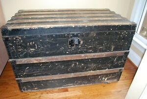Vtg 19th Century LOUIS VUITTON Steamer Trunk Luggage John Wanamaker Label RARE