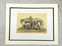 1862 Print Russian Bronze Hunting Statue Col Siberich Antique Chromolithograph