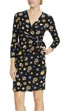Anne Klein Black & Cezanne Yellow Floral Libretto Wrap Dress Size UK 8