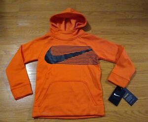 Nike THERMA Hoodie Size 5-6 Hooded Sweatshirt DRI-FIT Boys Orange Swoosh NEW NWT