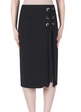Joseph Ribkoff Solid Black Corset Laced Straight Cut Skirt US 8 UK 10 NEW 183243