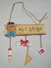 No. 1 Teacher Teddy Bear Dangle Christmas Tree Ornament Graduation Crayon Block