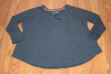 NWT Womens TOMMY HILFIGER Sport Gray Long Sleeve Shirt Sweater Shirt L