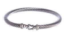 David Yurman Mujer Cable Hebilla Pulsera con Diamantes 5mm $550 Nuevo