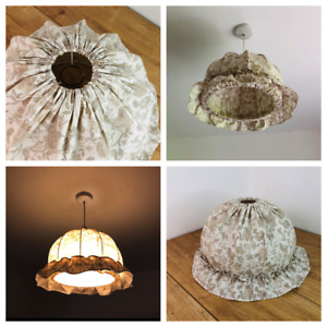Vintage Light Shade Fabric Ditsy 80's Cottage Core Retro Bedroom Brown & White
