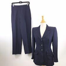 Vintage Escada Couture Size 36 100% Silk Navy Blue 2 piece Suit Women's P06-3