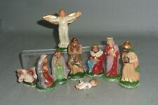 9 alte Krippenfiguren Maria Josef Jesus Könige Engel 10cm Serie Hohlmasse