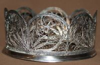 ANTIQUE RUSSIAN ORNATE FLORAL SILVER PLATED FILIGREE CUP HOLDER