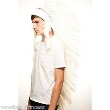 Majestic White Feather Native American Indian Headdress Coachella XH003