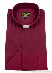 Men's Short Sleeve Clergy Shirt, Tab Collar, Burgundy, Priest, Pastor, Preacher