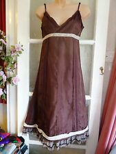 WHISTLES BROWN PURE SILK EVENING PARTY STRAPPY DRESS PINTUCKS FRILLS & LACE 10