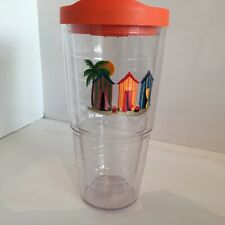 Tervis Tumbler 24 oz. Double Walled & Insulated Beachhouse Graphic w/ Orange Lid