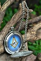 Masonic Square and Compasses Pocket Watch with Chain - Mason - Freemasons