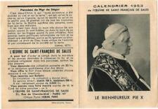 Calendrier de poche 1953. Pape Pie X.