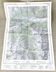1946 Antique Map of Switzerland Montana Sierre Valais Canton Leuk Chippis Swiss