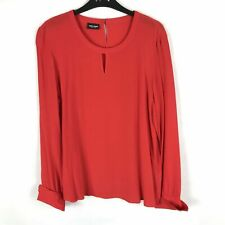 Gerry Weber Size 16 UK Womens Red Button Collar Chiffon Occasion Shirt Blouse