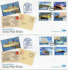 Tristan da Cunha 2015 FDC Early Main Ships Def 12v Set on 3 Covers Boats Stamps