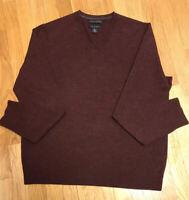 Banana Republic Mens Extra Fine Merino Wool V-Neck Burgundy Sweater LG
